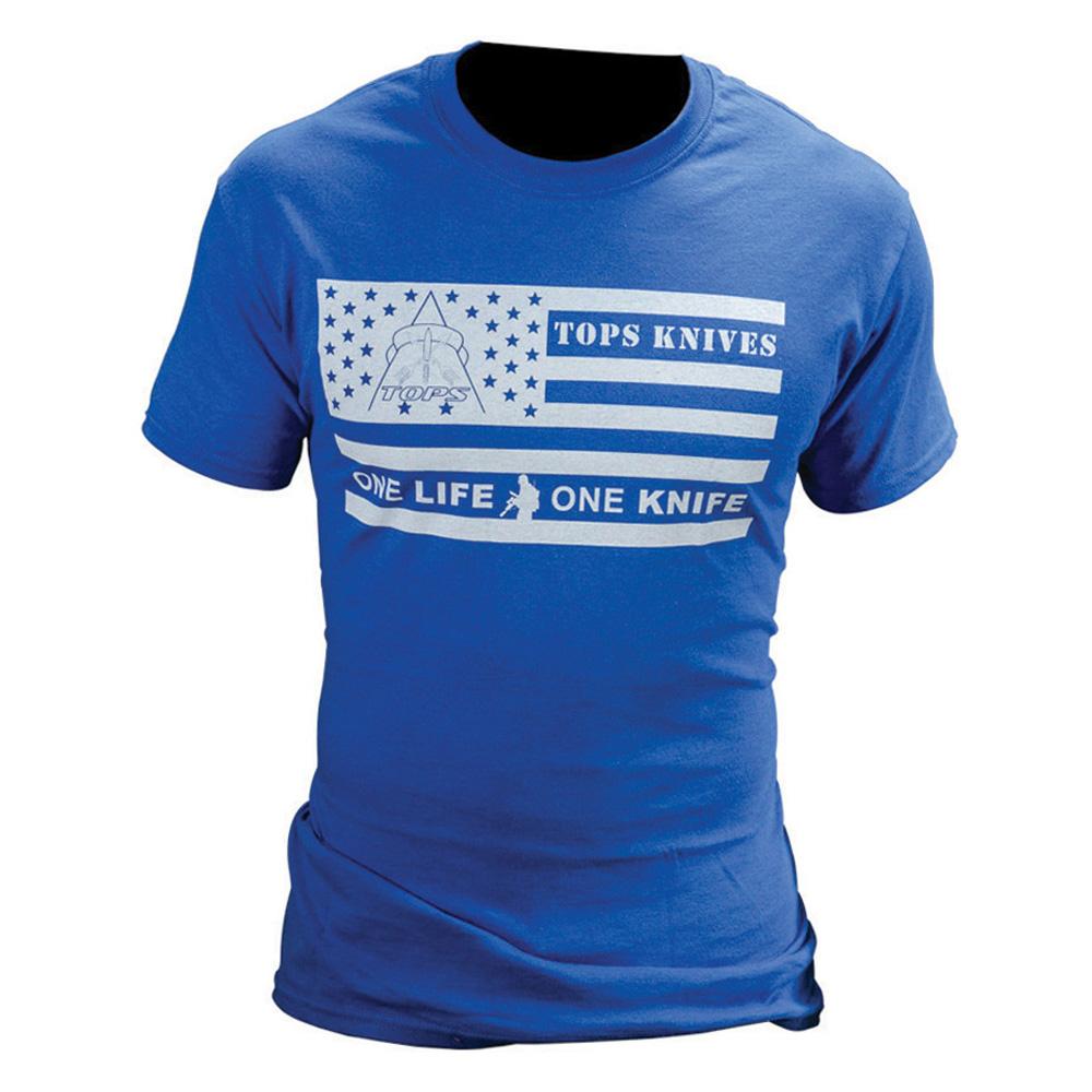 TOPS Knives TOPS T-Shirt Flag Logo Blue XXL